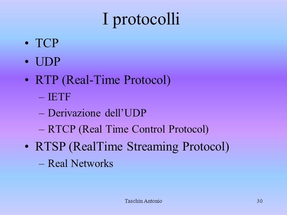 Taschin Antonio30 I protocolli TCP UDP RTP (Real-Time Protocol) –IETF –Derivazione dellUDP –RTCP (Real Time Control Protocol) RTSP (RealTime Streaming
