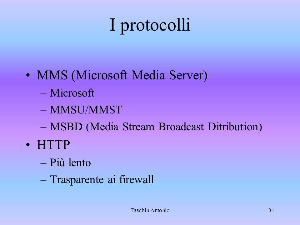 Taschin Antonio31 I protocolli MMS (Microsoft Media Server) –Microsoft –MMSU/MMST –MSBD (Media Stream Broadcast Ditribution) HTTP –Più lento –Traspare