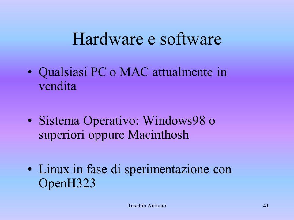 Taschin Antonio41 Hardware e software Qualsiasi PC o MAC attualmente in vendita Sistema Operativo: Windows98 o superiori oppure Macinthosh Linux in fa