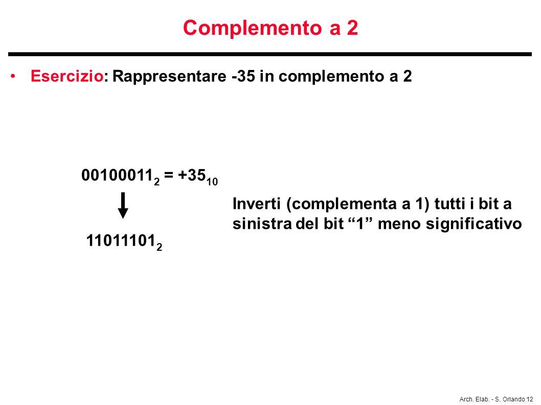 Arch. Elab. - S. Orlando 12 Complemento a 2 Esercizio: Rappresentare -35 in complemento a 2 00100011 2 = +35 10 11011101 2 Inverti (complementa a 1) t