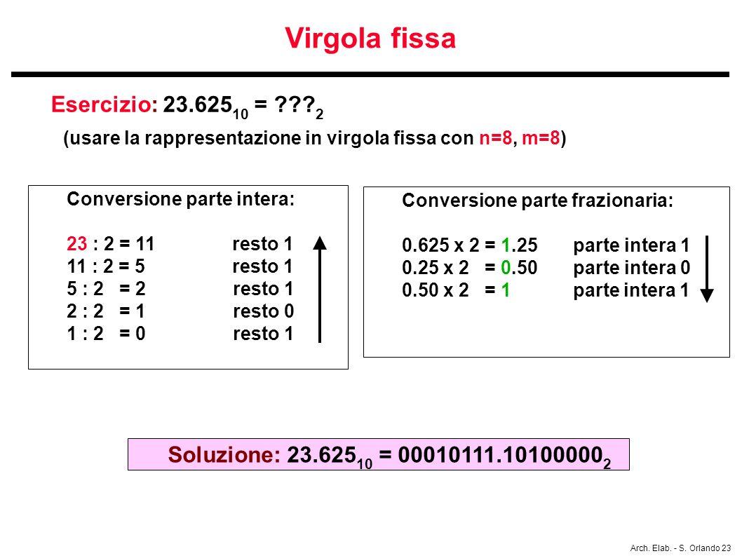 Arch. Elab. - S. Orlando 23 Virgola fissa Esercizio: 23.625 10 = ??? 2 (usare la rappresentazione in virgola fissa con n=8, m=8) Conversione parte int