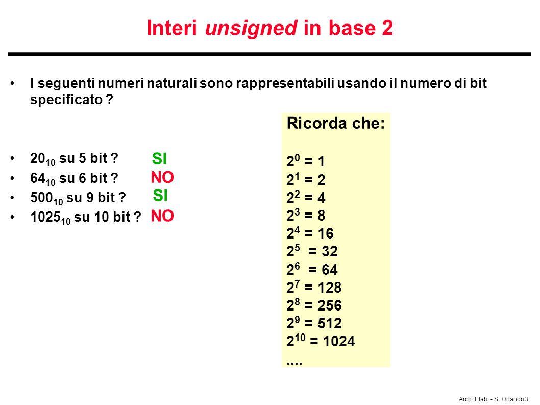 Arch. Elab. - S. Orlando 3 Interi unsigned in base 2 I seguenti numeri naturali sono rappresentabili usando il numero di bit specificato ? 20 10 su 5