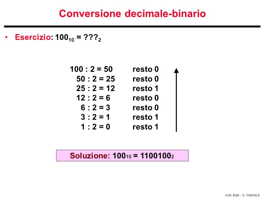 Arch. Elab. - S. Orlando 5 Conversione decimale-binario Esercizio: 100 10 = ??? 2 100 : 2 = 50 resto 0 50 : 2 = 25 resto 0 25 : 2 = 12 resto 1 12 : 2