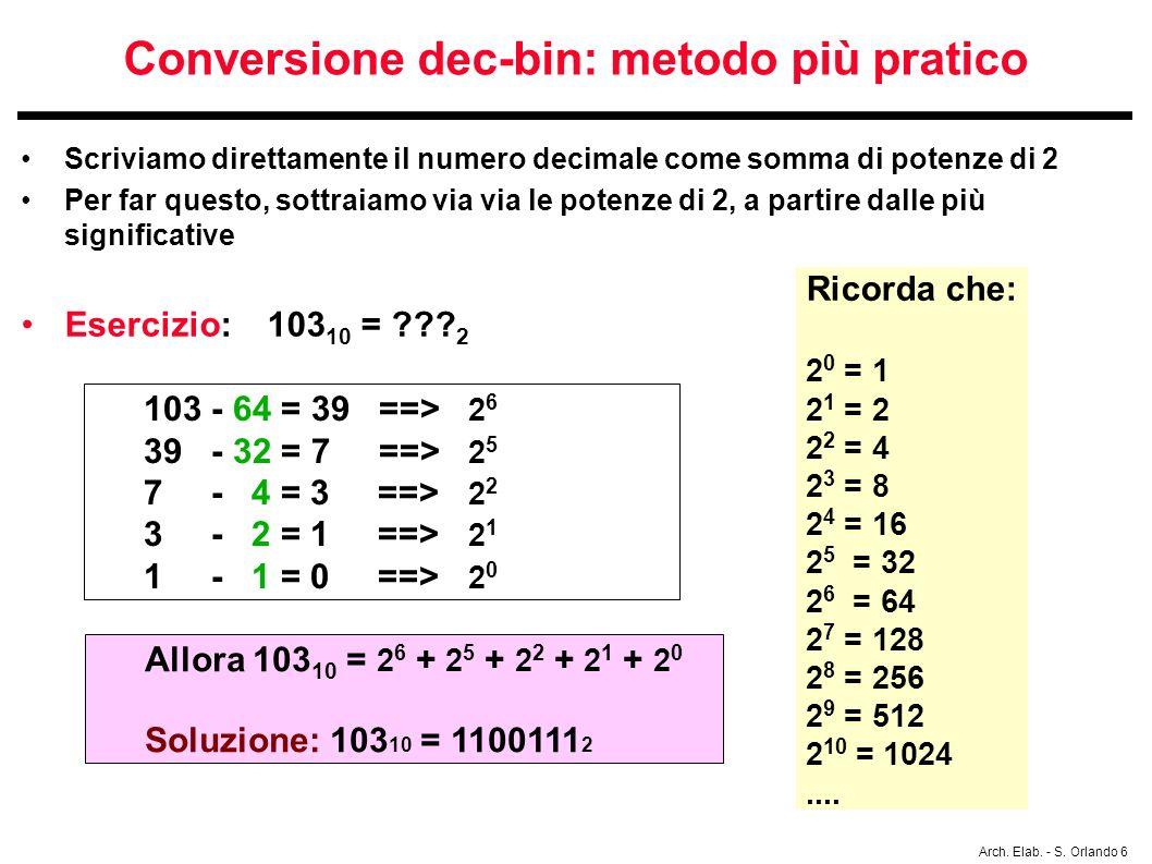 Arch. Elab. - S. Orlando 6 Conversione dec-bin: metodo più pratico Scriviamo direttamente il numero decimale come somma di potenze di 2 Per far questo
