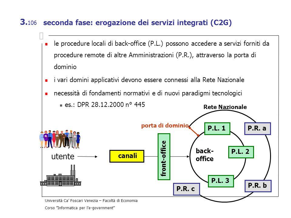 Università Ca Foscari Venezia – Facoltà di Economia Corso Informatica per le-government 3. 106 seconda fase: erogazione dei servizi integrati (C2G) le