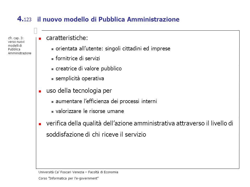Università Ca Foscari Venezia – Facoltà di Economia Corso Informatica per le-government 4. 123 il nuovo modello di Pubblica Amministrazione caratteris
