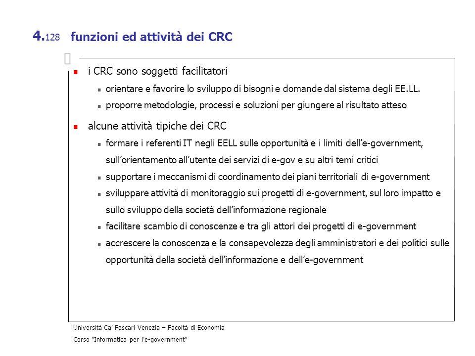 Università Ca Foscari Venezia – Facoltà di Economia Corso Informatica per le-government 4. 128 funzioni ed attività dei CRC i CRC sono soggetti facili