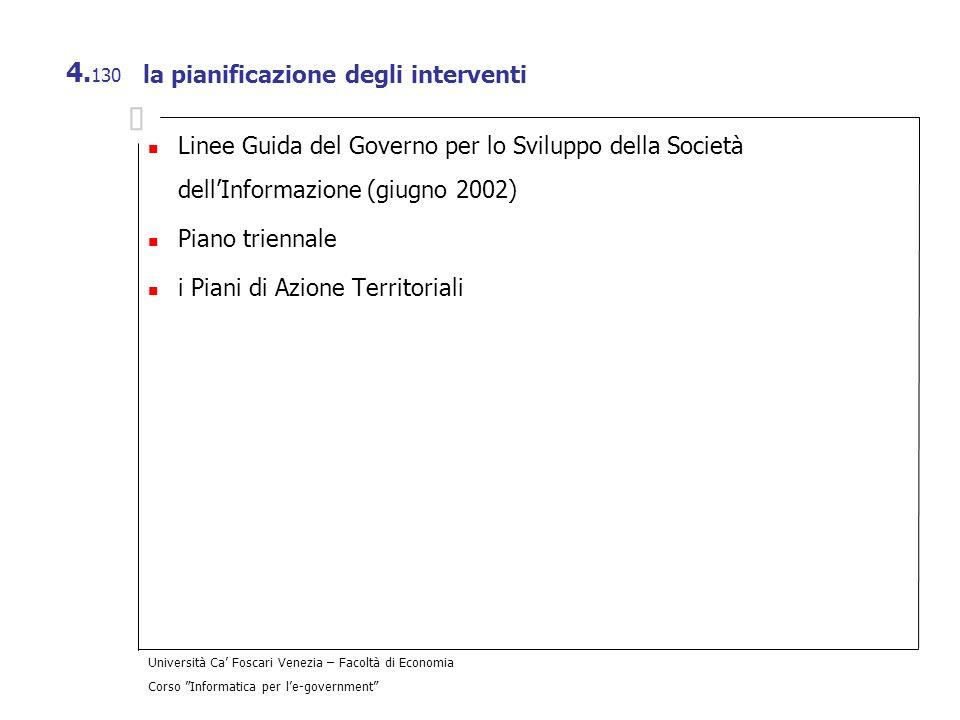 Università Ca Foscari Venezia – Facoltà di Economia Corso Informatica per le-government 4. 130 la pianificazione degli interventi Linee Guida del Gove