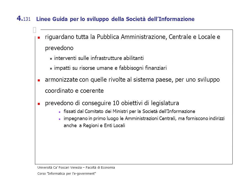 Università Ca Foscari Venezia – Facoltà di Economia Corso Informatica per le-government 4. 131 Linee Guida per lo sviluppo della Società dellInformazi