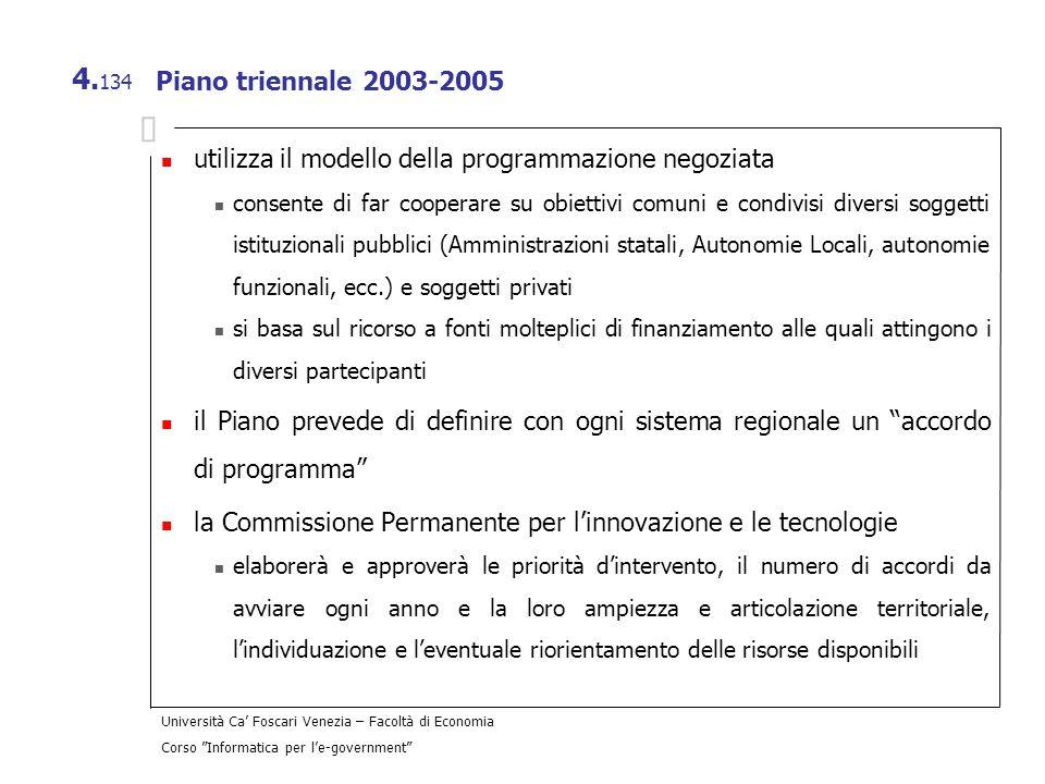 Università Ca Foscari Venezia – Facoltà di Economia Corso Informatica per le-government 4. 134 Piano triennale 2003-2005 utilizza il modello della pro