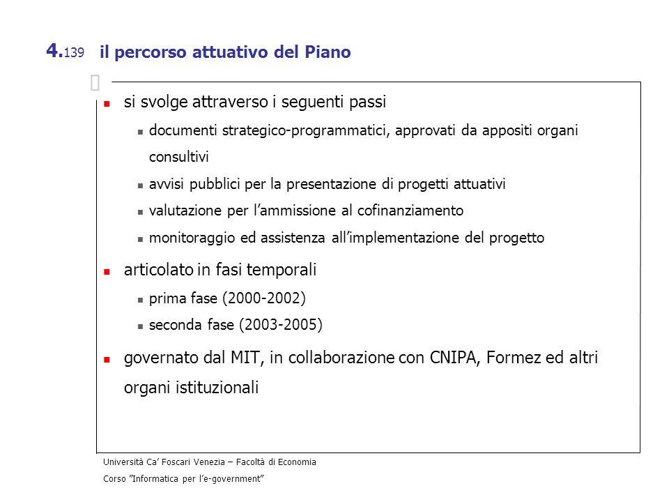 Università Ca Foscari Venezia – Facoltà di Economia Corso Informatica per le-government 4. 139 il percorso attuativo del Piano si svolge attraverso i