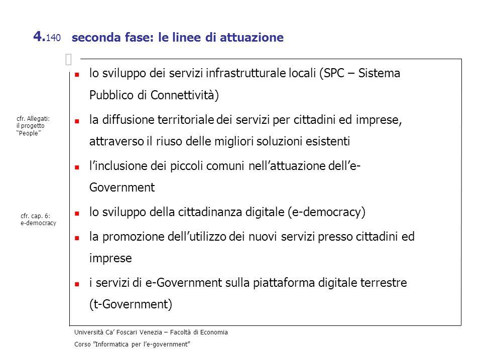Università Ca Foscari Venezia – Facoltà di Economia Corso Informatica per le-government 4. 140 seconda fase: le linee di attuazione lo sviluppo dei se