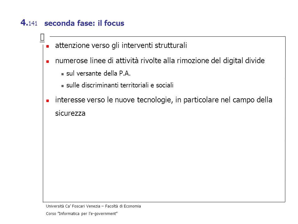 Università Ca Foscari Venezia – Facoltà di Economia Corso Informatica per le-government 4. 141 seconda fase: il focus attenzione verso gli interventi