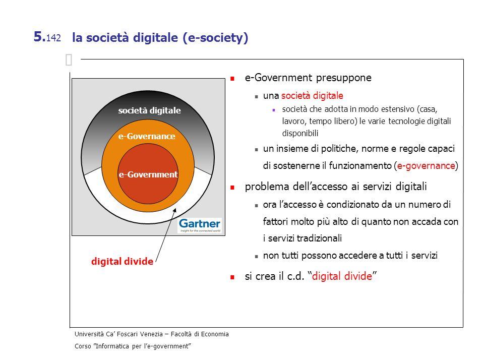 Università Ca Foscari Venezia – Facoltà di Economia Corso Informatica per le-government 5. 142 la società digitale (e-society) e-Government presuppone