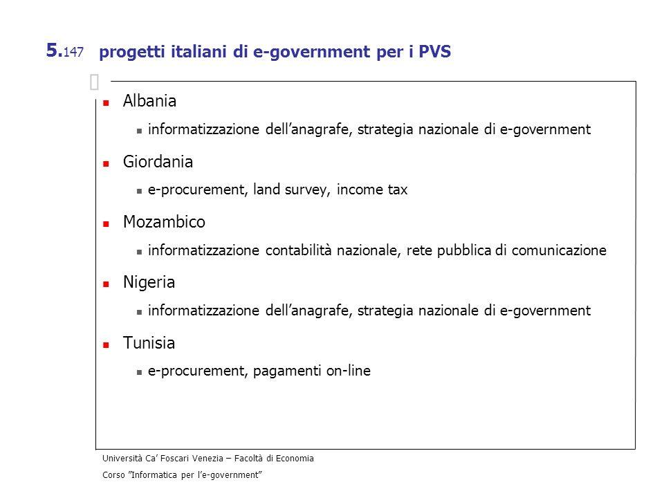 Università Ca Foscari Venezia – Facoltà di Economia Corso Informatica per le-government 5. 147 progetti italiani di e-government per i PVS Albania inf