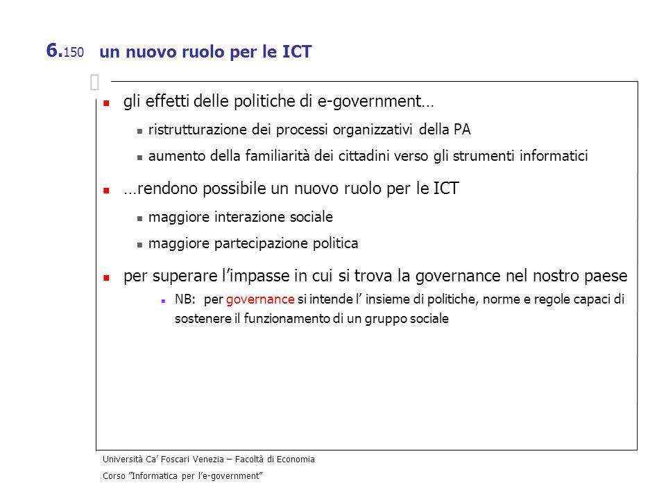 Università Ca Foscari Venezia – Facoltà di Economia Corso Informatica per le-government 6. 150 un nuovo ruolo per le ICT gli effetti delle politiche d