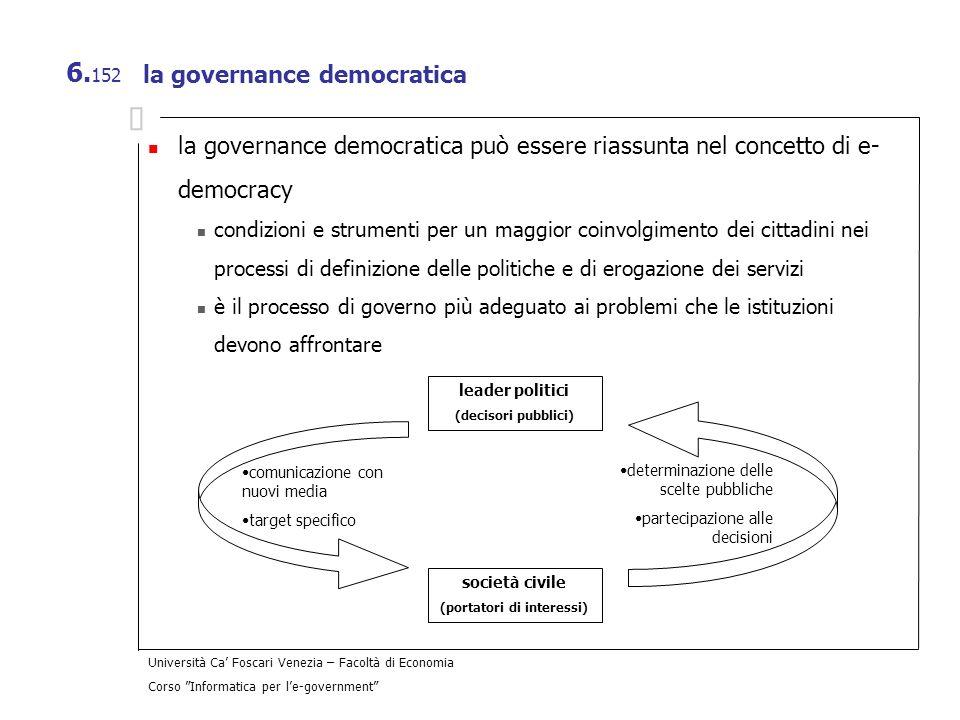 Università Ca Foscari Venezia – Facoltà di Economia Corso Informatica per le-government 6. 152 la governance democratica la governance democratica può