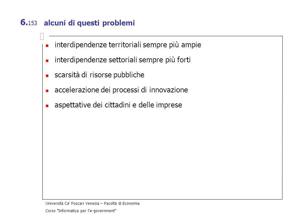 Università Ca Foscari Venezia – Facoltà di Economia Corso Informatica per le-government 6. 153 alcuni di questi problemi interdipendenze territoriali