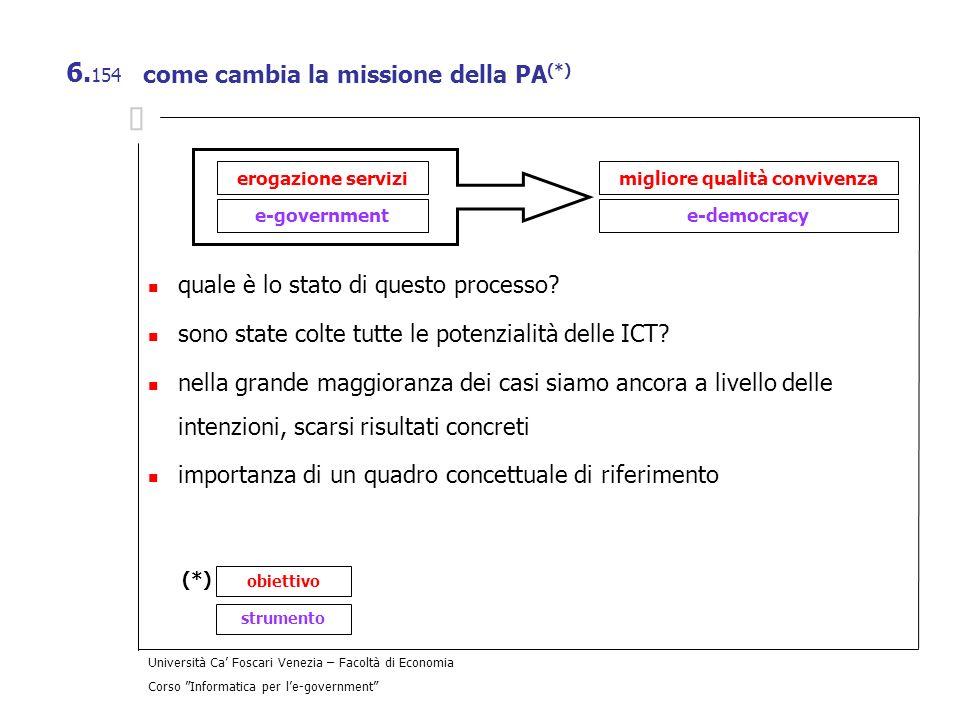 Università Ca Foscari Venezia – Facoltà di Economia Corso Informatica per le-government 6. 154 come cambia la missione della PA (*) quale è lo stato d