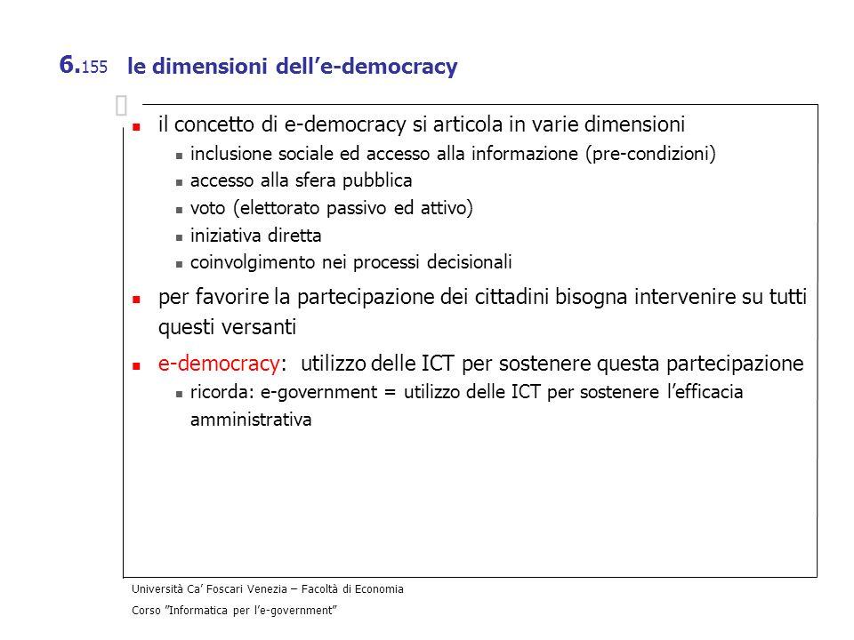 Università Ca Foscari Venezia – Facoltà di Economia Corso Informatica per le-government 6. 155 le dimensioni delle-democracy il concetto di e-democrac