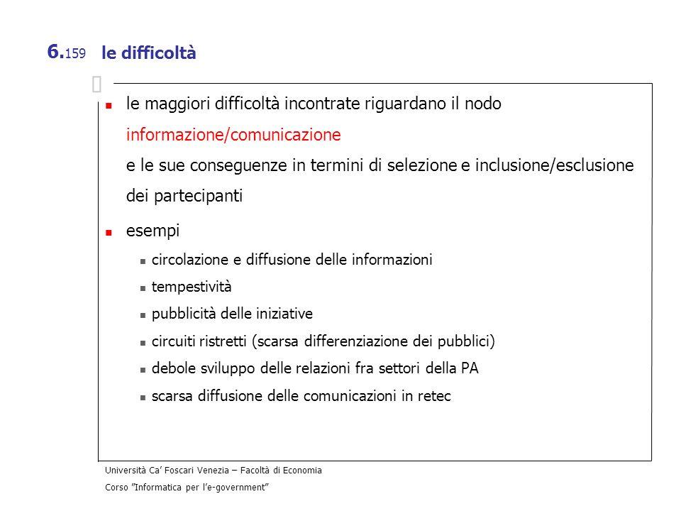 Università Ca Foscari Venezia – Facoltà di Economia Corso Informatica per le-government 6. 159 le difficoltà le maggiori difficoltà incontrate riguard