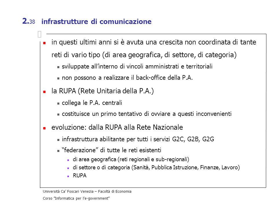 Università Ca Foscari Venezia – Facoltà di Economia Corso Informatica per le-government 2. 38 infrastrutture di comunicazione in questi ultimi anni si