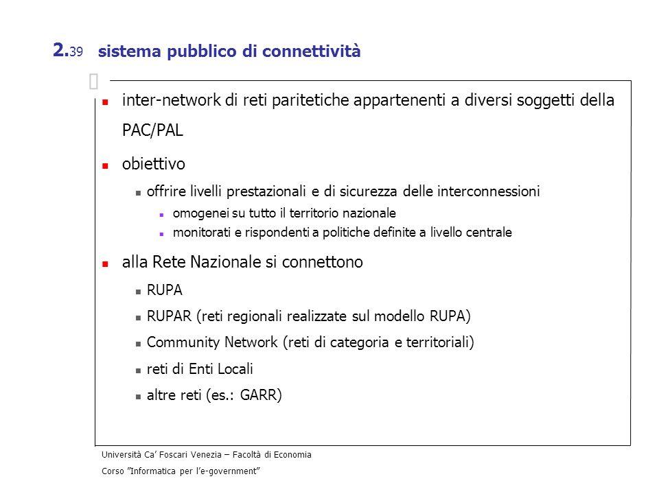 Università Ca Foscari Venezia – Facoltà di Economia Corso Informatica per le-government 2. 39 sistema pubblico di connettività inter-network di reti p