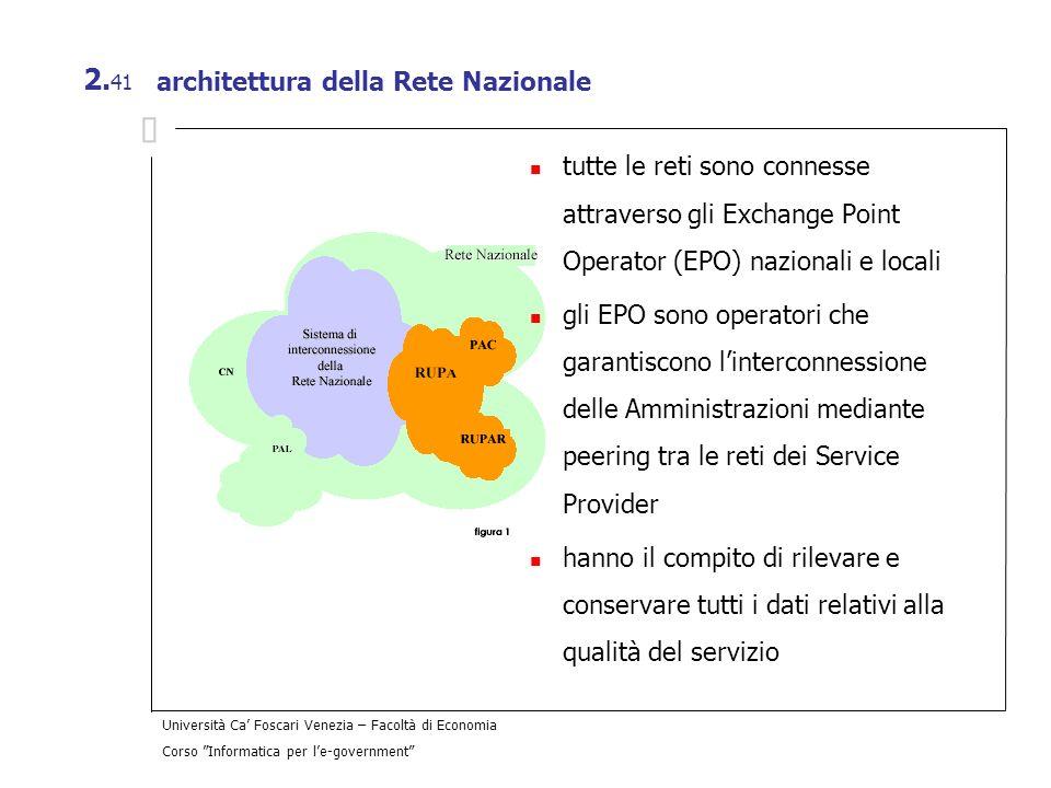 Università Ca Foscari Venezia – Facoltà di Economia Corso Informatica per le-government 2. 41 architettura della Rete Nazionale tutte le reti sono con