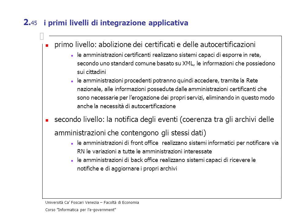 Università Ca Foscari Venezia – Facoltà di Economia Corso Informatica per le-government 2. 45 i primi livelli di integrazione applicativa primo livell