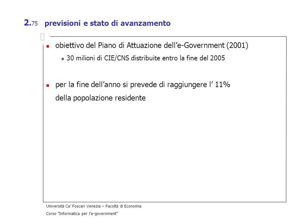 Università Ca Foscari Venezia – Facoltà di Economia Corso Informatica per le-government 2. 75 previsioni e stato di avanzamento obiettivo del Piano di