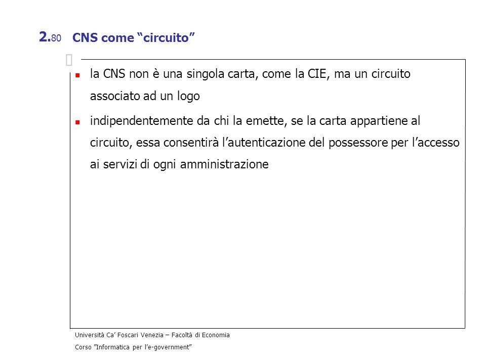 Università Ca Foscari Venezia – Facoltà di Economia Corso Informatica per le-government 2. 80 CNS come circuito la CNS non è una singola carta, come l