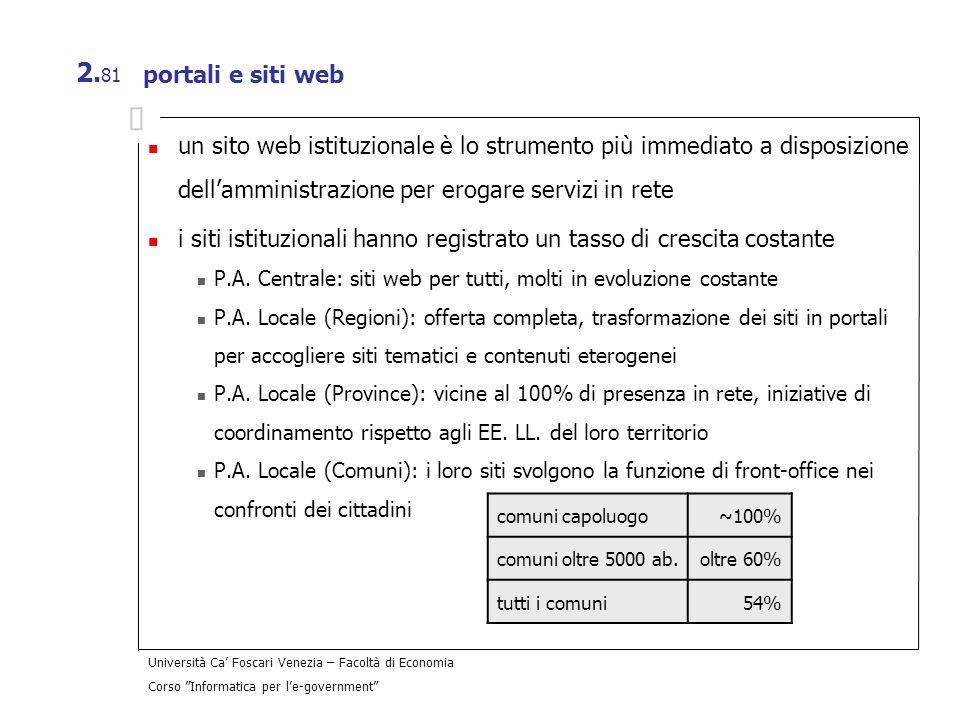 Università Ca Foscari Venezia – Facoltà di Economia Corso Informatica per le-government 2. 81 portali e siti web un sito web istituzionale è lo strume