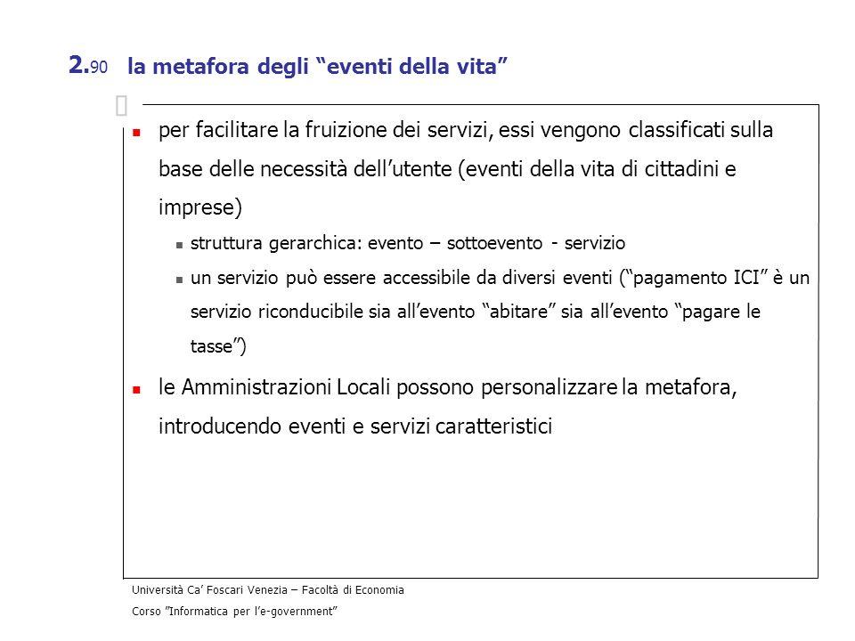 Università Ca Foscari Venezia – Facoltà di Economia Corso Informatica per le-government 2. 90 la metafora degli eventi della vita per facilitare la fr