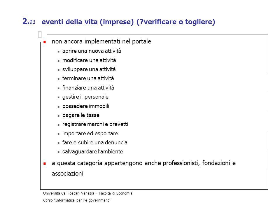 Università Ca Foscari Venezia – Facoltà di Economia Corso Informatica per le-government 2. 93 eventi della vita (imprese) (?verificare o togliere) non