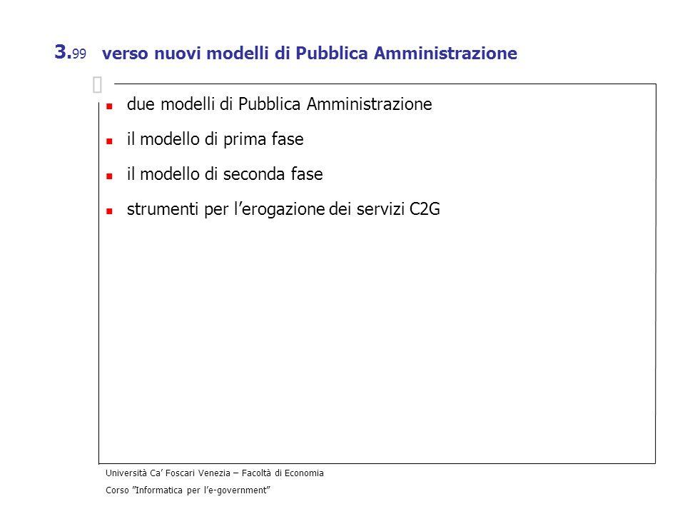 Università Ca Foscari Venezia – Facoltà di Economia Corso Informatica per le-government 3. 99 verso nuovi modelli di Pubblica Amministrazione due mode