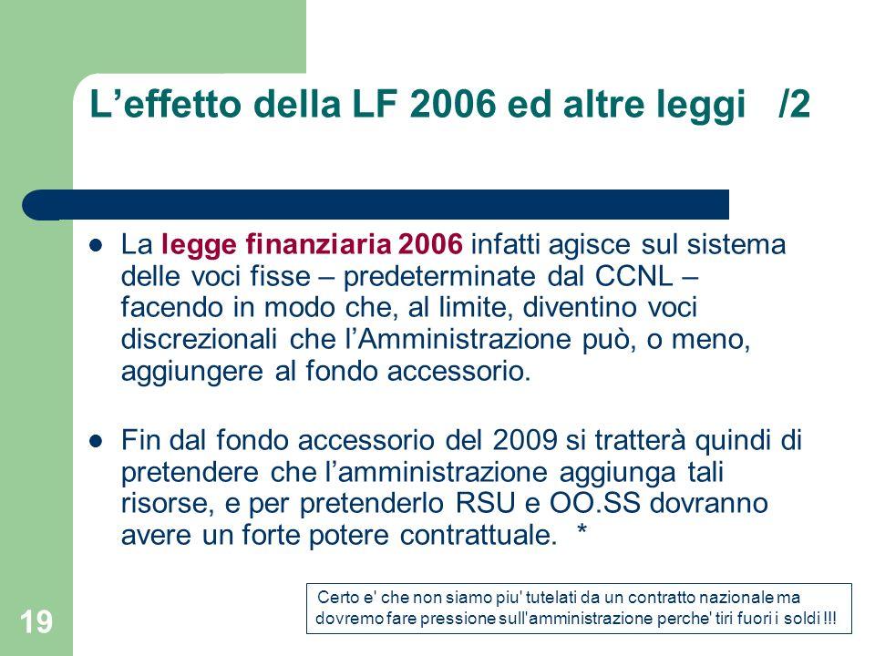 18 Leffetto della LF 2006 il contratto nazionale prevede lerogazione di salario accessorio, destinando a questo scopo delle somme precise.