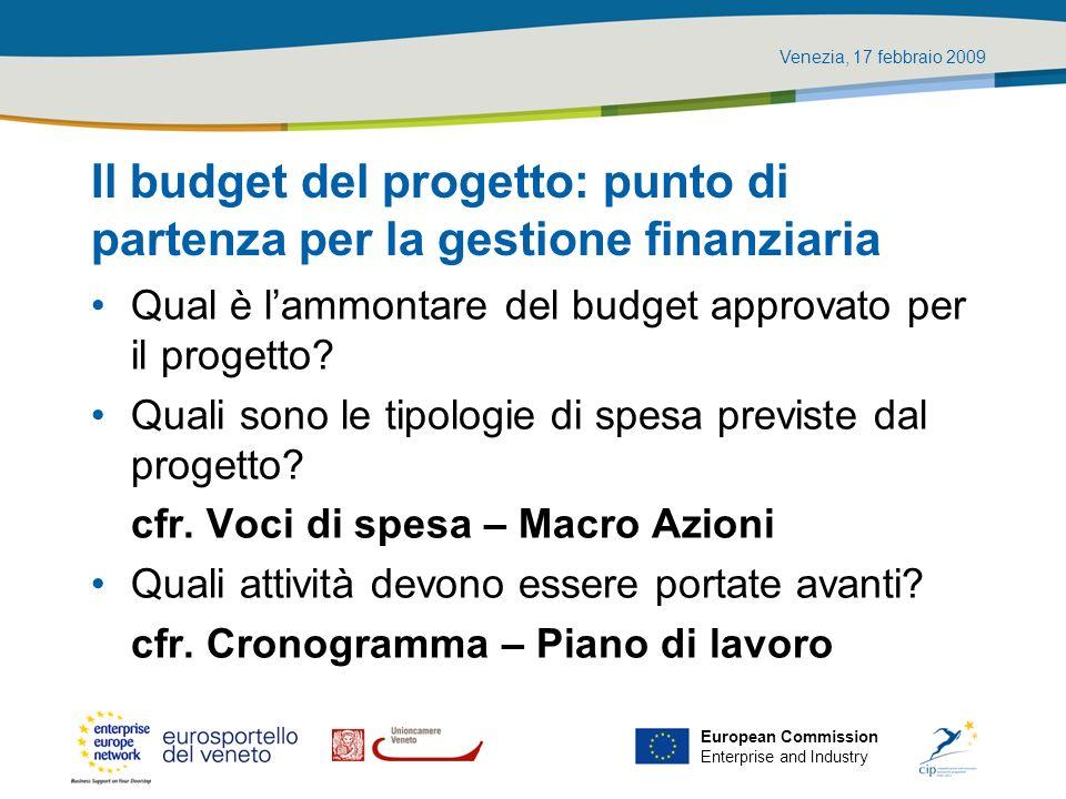Venezia, 17 febbraio 2009 European Commission Enterprise and Industry Il budget del progetto: punto di partenza per la gestione finanziaria Qual è lam