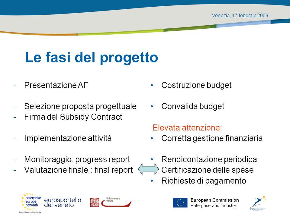 Venezia, 17 febbraio 2009 European Commission Enterprise and Industry Le fasi del progetto -Presentazione AF -Selezione proposta progettuale -Firma de