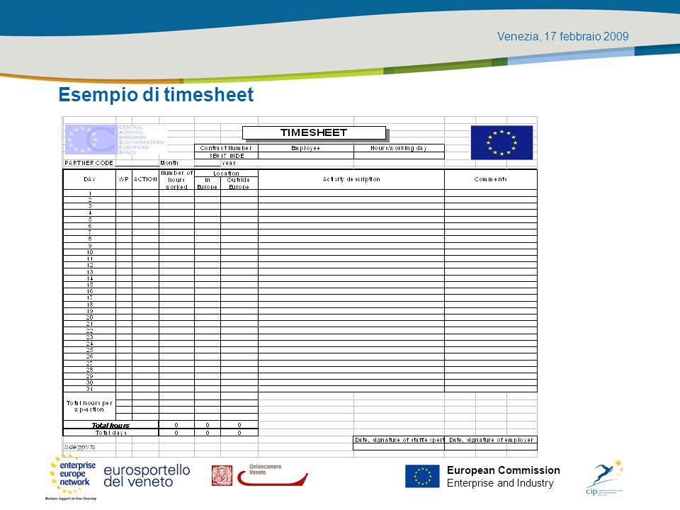 Venezia, 17 febbraio 2009 European Commission Enterprise and Industry Esempio di timesheet