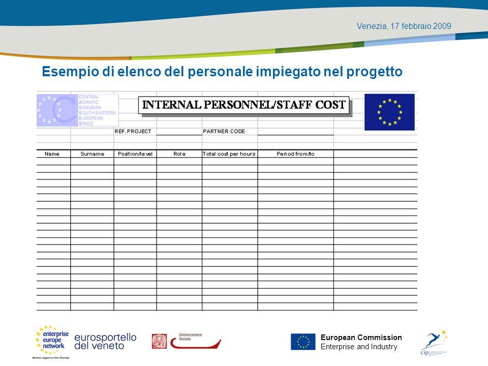 Venezia, 17 febbraio 2009 European Commission Enterprise and Industry Esempio di elenco del personale impiegato nel progetto
