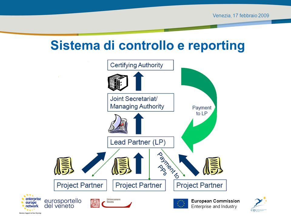 Venezia, 17 febbraio 2009 European Commission Enterprise and Industry Sistema di controllo e reporting