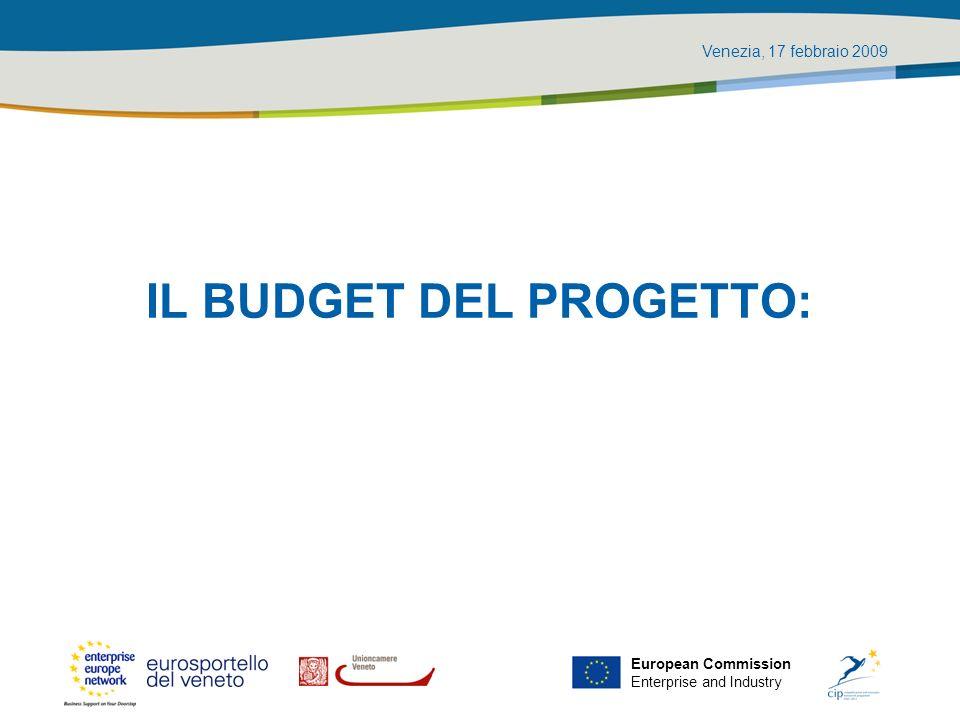 Venezia, 17 febbraio 2009 European Commission Enterprise and Industry Il budget del progetto: punto di partenza per la gestione finanziaria Qual è lammontare del budget approvato per il progetto.