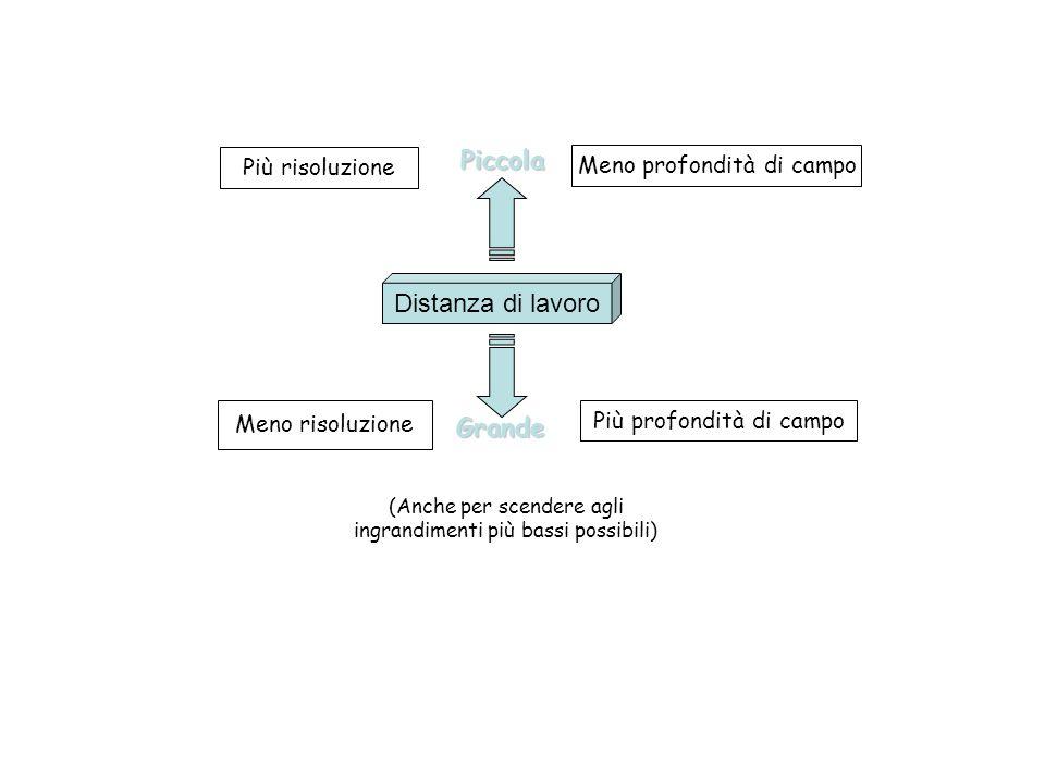 Distanza di lavoroPiccolaGrande Più profondità di campo Meno profondità di campo Più risoluzione Meno risoluzione (Anche per scendere agli ingrandimen