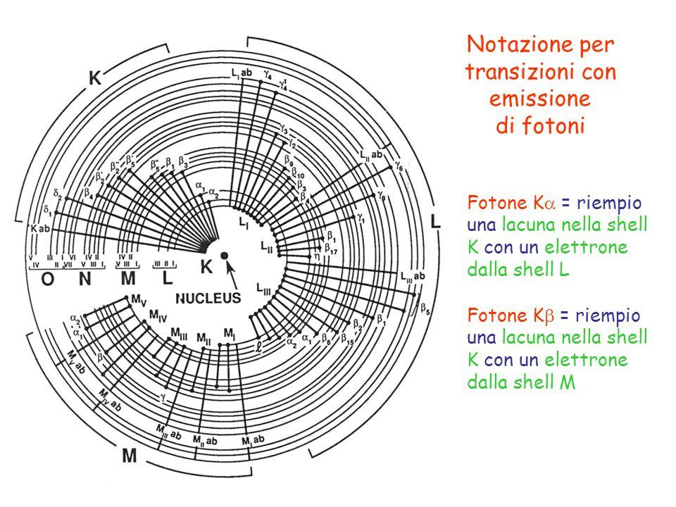 Notazione per transizioni con emissione di fotoni Fotone K = riempio una lacuna nella shell K con un elettrone dalla shell L Fotone K = riempio una la