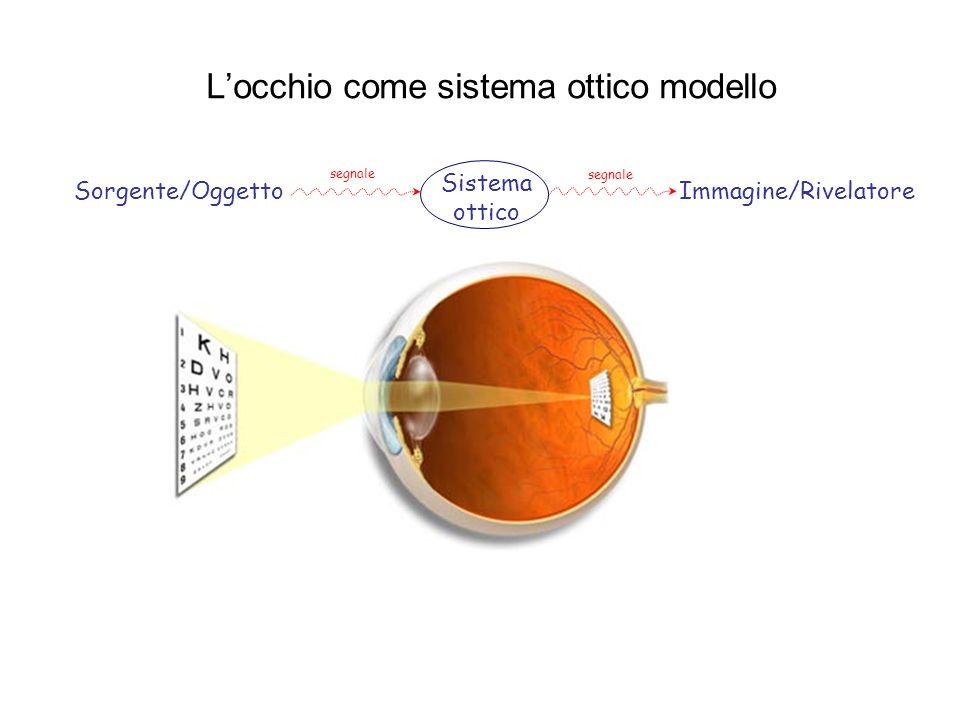 Locchio come sistema ottico modello Sorgente/Oggetto Sistema ottico Immagine/Rivelatore segnale