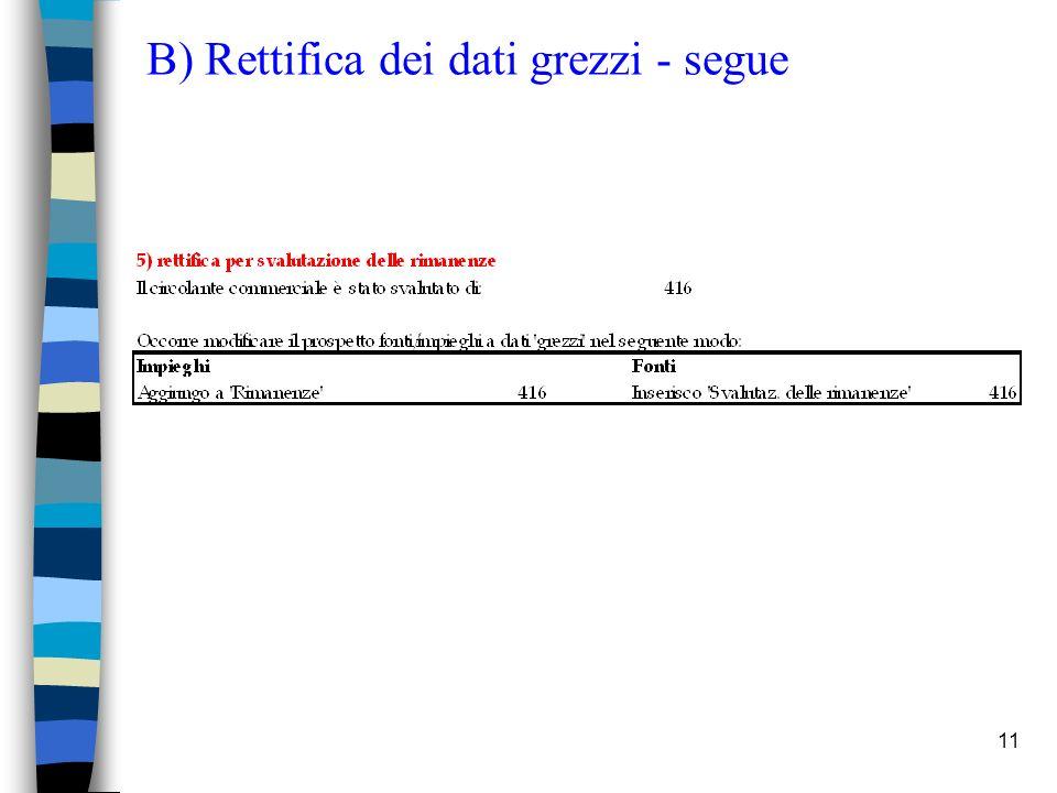 11 B) Rettifica dei dati grezzi - segue