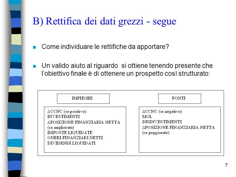 7 B) Rettifica dei dati grezzi - segue n Come individuare le rettifiche da apportare? n Un valido aiuto al riguardo si ottiene tenendo presente che lo