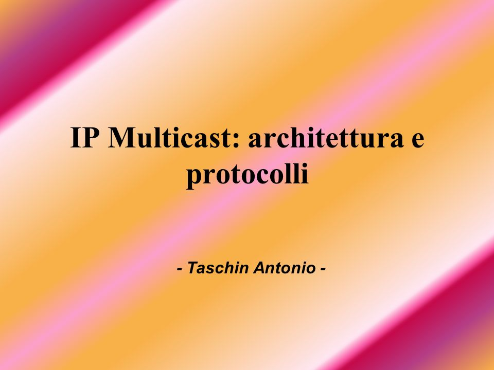 Taschin Antonio112 Domain C Domain B Domain D Domain E s Domain A RP r MSDP Peers Multicast Traffic MSDP Example RP
