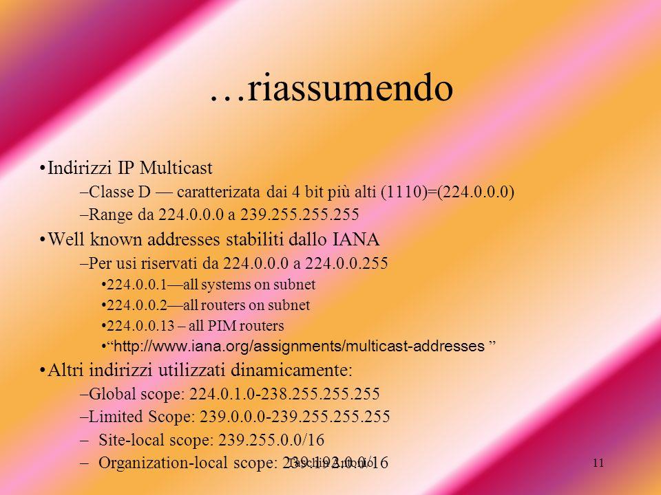 Taschin Antonio11 …riassumendo Indirizzi IP Multicast –Classe D caratterizata dai 4 bit più alti (1110)=(224.0.0.0) –Range da 224.0.0.0 a 239.255.255.