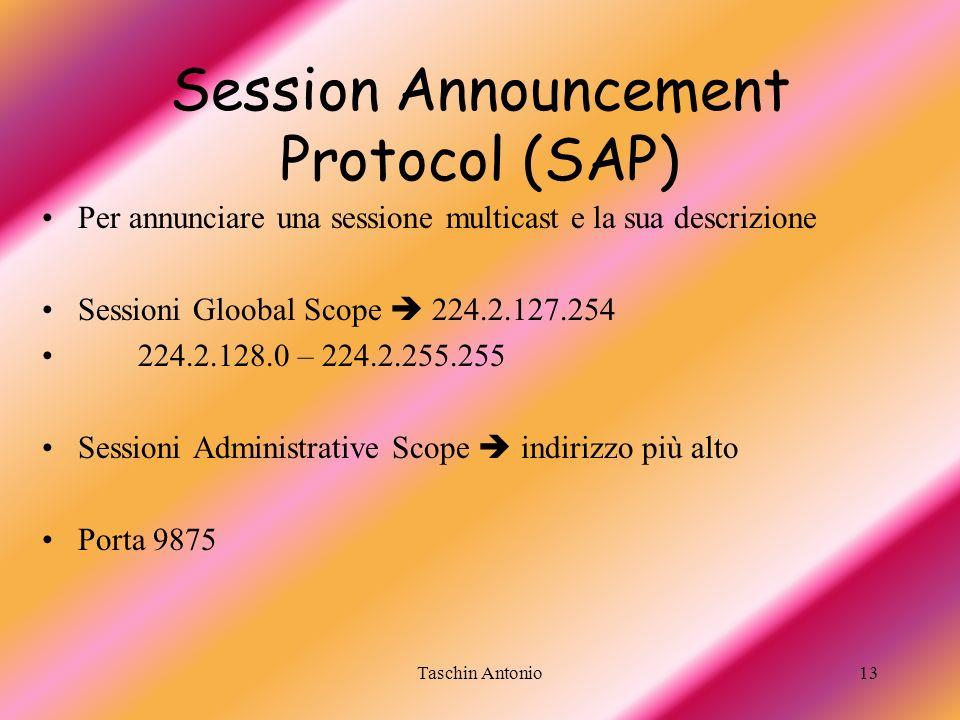 Taschin Antonio13 Session Announcement Protocol (SAP) Per annunciare una sessione multicast e la sua descrizione Sessioni Gloobal Scope 224.2.127.254